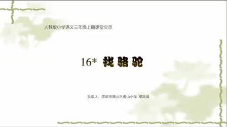 小学三年级语文找骆驼教学视频人教版邓凤娟