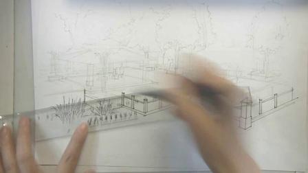 手绘两点透视5,手绘技法,景观手绘基础,景观手绘技法