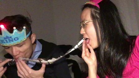 130222晁安雅陶金汪建荣两月生日派对 两只兔子抢舔蛋糕的青菜