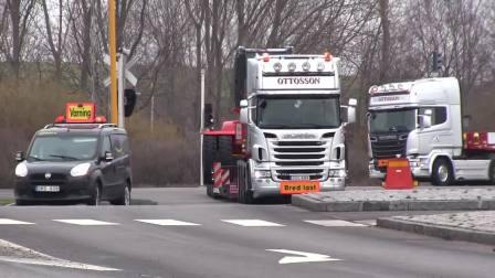 街头实拍国外货运卡车,斯堪尼亚沃尔沃达夫,全是好车啊!