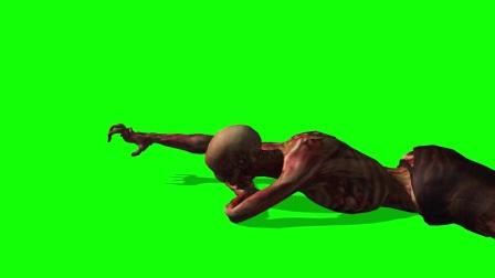 僵尸爬行  绿屏抠像 巧影素材 keylight 1.2素材 特效牛绿屏素材网