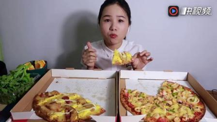 吃播 必胜客新品 薄脆披萨 真的很好吃诶! 还有冰草和橙子~