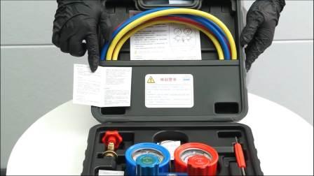 致优工具 汽车空调带硅油抗震款加氟表 雪种压力表 R134a加注表冷媒表