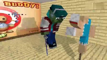 怪物学校:踢伙伴游戏猪人忍者都被吓跑了mc搞笑