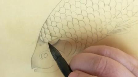 跟乐知轩主(耿老师)学工笔画——《春溪水族图》(1)
