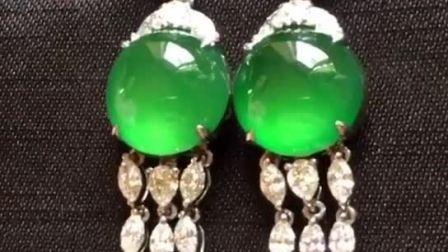 老坑种满绿耳钉-翡翠耳坠-翡翠耳钉镶嵌款式图片-翡翠耳环款式图片大全