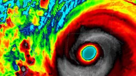 台风山竹登陆菲律宾全过程高清卫星云图动画