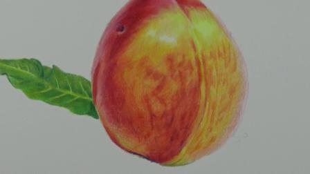 上海八哥美术《胡说胡画》精品手绘课堂彩铅画作品--桃子