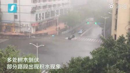 台风山竹袭来!广东深圳雨势明显增强 部分路段内涝