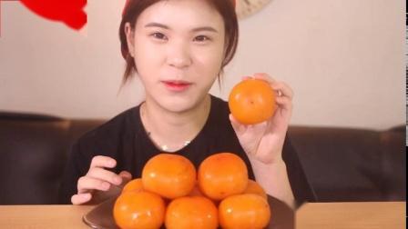 韩国大胃王妹妹吃柿子