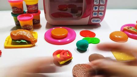 神奇微波炉做美味的汉堡套餐厨房玩具