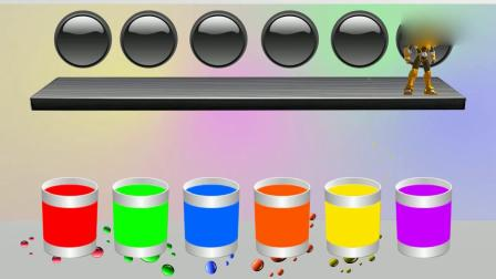 亲子早教动画 小兔子跟机器人一起跳进水桶里,出来后变身不同颜色,认识颜色
