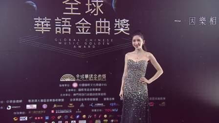 伍家怡红毯秀首位登场,黑色长裙尽显美丽动人 全球华语金曲奖 20181114