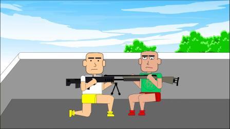 吃鸡搞笑动画:狙击模式决赛圈捡到八倍镜,说