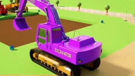 汽车总动员卡通 水泥搅拌车挖掘机推土机吊车翻斗车一起建大楼.avi
