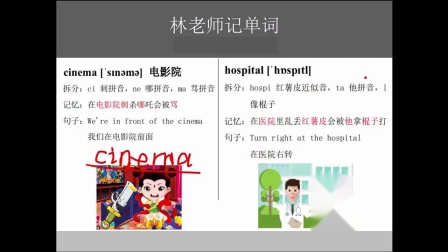 小学五年级英语练习题怎样记英语单词cinema 电影院、hospital 医院又快又牢