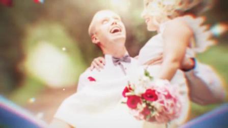 心形玫瑰花瓣婚礼照片相册暖场视频图片展示幻灯片头动画AE模板