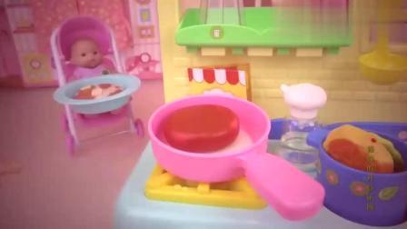 芭比娃娃厨房做各种水果食玩蛋糕派,果冻冰淇淋厨房玩具DIY视频