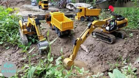 儿童遥控工程车玩具视频,挖掘机、翻斗车野外工作运输泥土