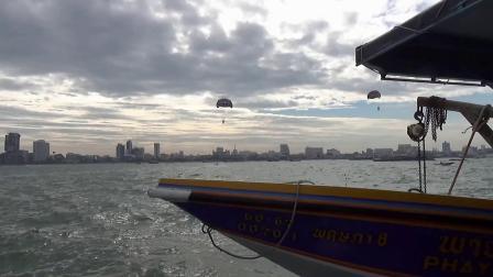 泰国芭提雅骑大象海上高空滑翔伞