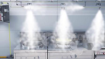 自动灭火装置三维动画-CMJS型厨房设备自动灭火装置三维动画-系统原理三维动画