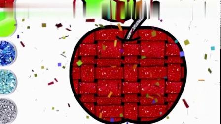 简笔绘画苹果生日蛋糕模型,涂鸦彩绘佩佩猪动漫图形