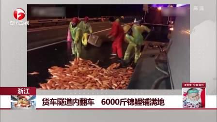 货车隧道内翻车 6000斤锦鲤铺满地 每日新闻报 20190122