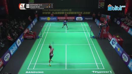 2019.02.24 决赛 MS1 安东尼-金廷 vs 伊赫桑-穆斯托法 - 2019印尼羽毛球超级联赛