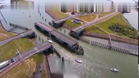 可90度旋转的大桥,车辆和轮船通行互不影响,佩服设计师的脑洞!
