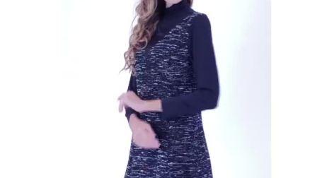 春季堆堆领打底裙拼接半高领黑色针织长袖连衣裙女新款时尚中长款-淘宝网 (2)(1)
