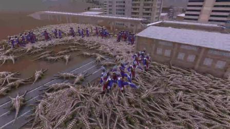 迪迦奥特曼光之战队应战魔法恐龙,三个头的恐龙!