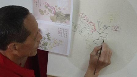 项老师国画教学视频《海棠花》