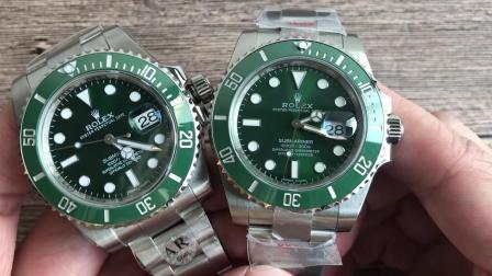 N厂劳力士绿水鬼V8版本904钢对比AR厂劳力士绿水鬼904钢腕表
