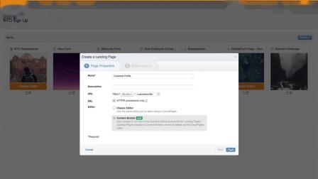 Web Studio Content Builder - Create your landing page