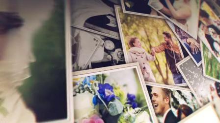 AE模板 优雅爱心形照片墙大量多照片展示宣传幻灯片电子相册视频