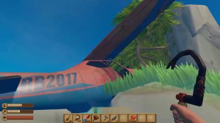 小歪木筏求生!我登上这座大型小岛,竟发现上面有一架空投飞机