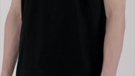 CALVIN LUO 19春夏黑色纯棉方形眼睛睫毛印花圆领短袖百搭男士T恤