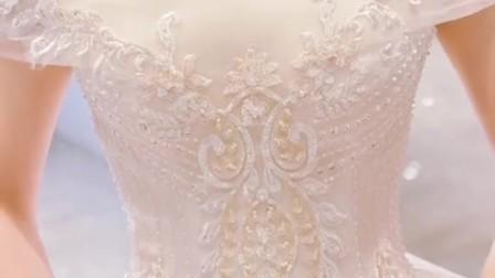 轻婚纱礼服2019新款新娘拖尾奢华梦幻一字肩赫本法式森系超仙夏季