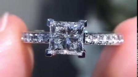 施洛芙方钻钻戒 戒指女款1克拉钻石戒指纯银饰品镀铂金戒指情侣