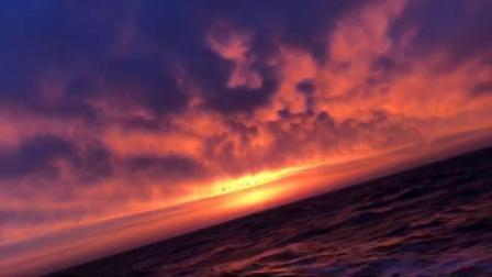 帆船看海上日落