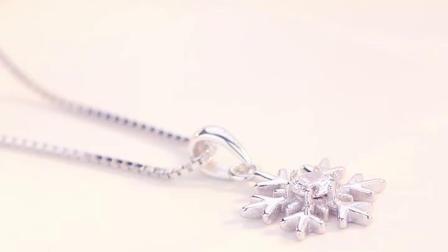 纯银项链女生简约雪花吊坠镶施华洛世奇锆七夕情人节礼物送女友