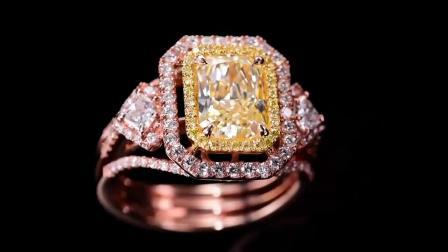 灵妙珠宝GIA认证18k金镶嵌天然黄钻戒指女 豪华镶嵌彩色钻石女戒