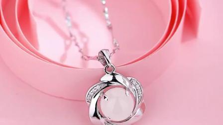 君晓天云纯银项链女玉石吊坠妈妈款玉首饰送婆婆中老年人母亲节生日礼物
