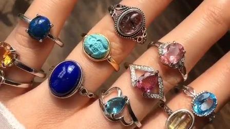 秋惜家。天然石榴石碧玺草莓晶紫晶粉晶蜜蜡橄榄石紫发晶戒指