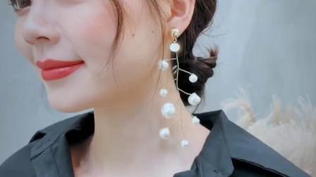 日韩气质纯手工制作人造珍珠耳环耳坠欧美网红小白透明水晶耳环女
