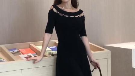 君晓天云冰丝珍珠镂空洋装女2019秋冬装新款韩版针织小黑裙子319146501