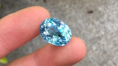 14克拉天然巴西海蓝宝石裸石戒面戒指吊坠全净圣玛利亚色海蓝收藏