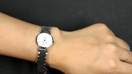 瑞士新款浪琴嘉岚时尚纤薄钢带蓝盘镶钻石英女手表l4