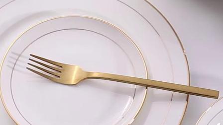 骨瓷餐具套装碗盘欧式金边组合景德镇陶瓷器中式碗碟套装家用礼品