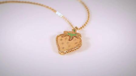 Kassiadroa KD珠宝意大利女士彩绘工艺可爱草莓吊坠18K金彩金项链